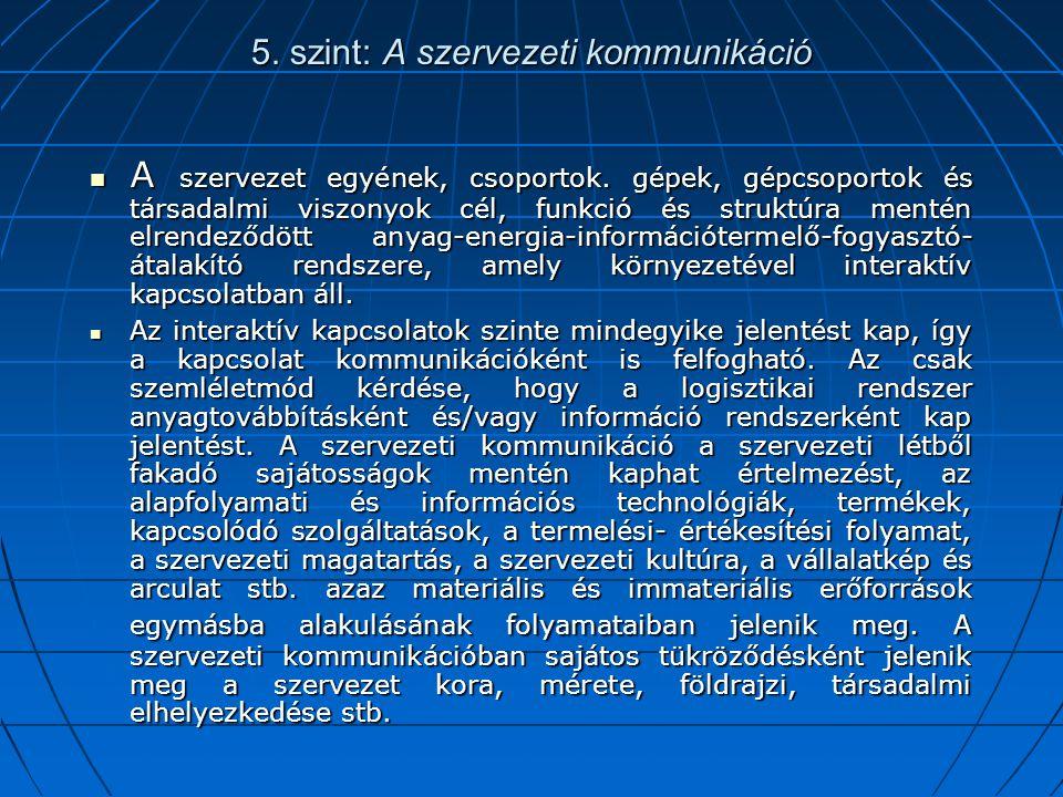 5. szint: A szervezeti kommunikáció A szervezet egyének, csoportok. gépek, gépcsoportok és társadalmi viszonyok cél, funkció és struktúra mentén elren