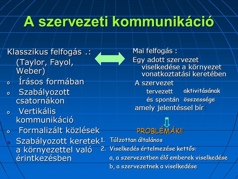 A szervezeti kommunikáció Klasszikus felfogás.: (Taylor, Fayol, Weber) o Írásos formában o Szabályozott csatornákon o Vertikális kommunikáció o Formalizált közlések o Szabályozott keretek a környezettel való érintkezésben Mai felfogás : Egy adott szervezet viselkedése a környezet vonatkoztatási keretében A szervezet A szervezet tervezett tervezett és spontán és spontán amely jelentéssel bír.