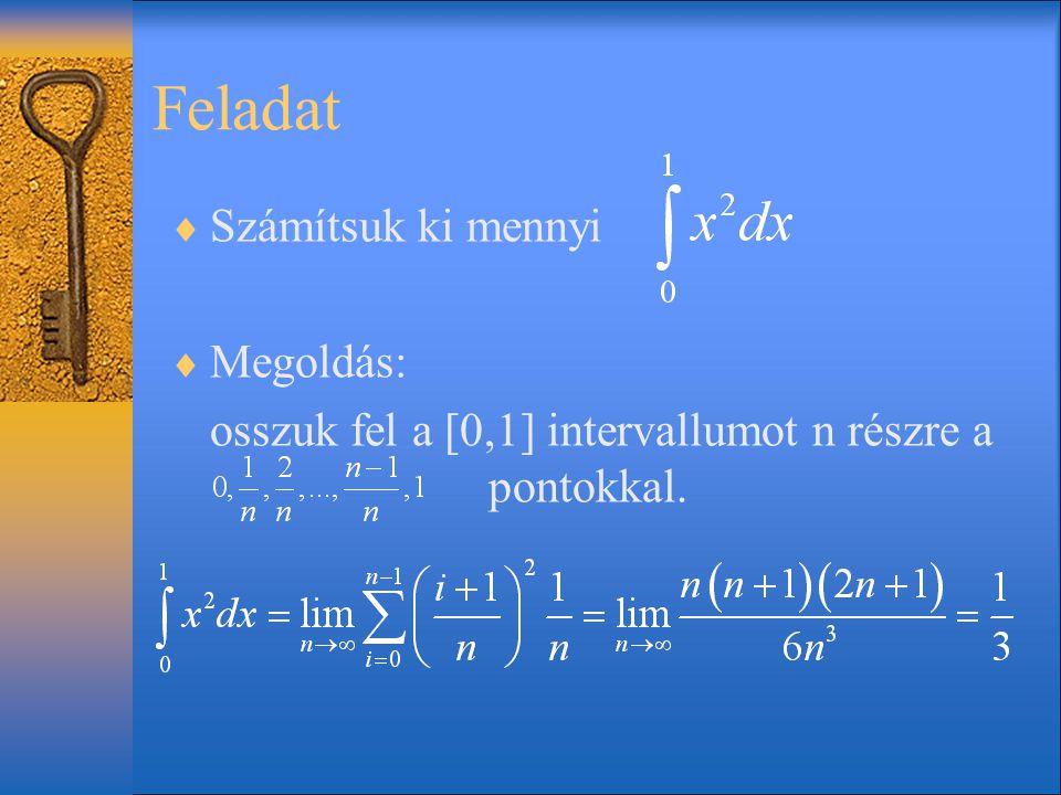 Feladat  Számítsuk ki mennyi  Megoldás: osszuk fel a [0,1] intervallumot n részre a pontokkal.