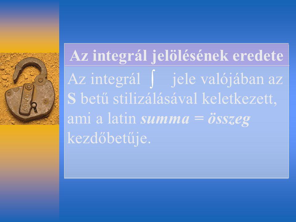 Az integrál jele valójában az S betű stilizálásával keletkezett, ami a latin summa = összeg kezdőbetűje. Az integrál jelölésének eredete