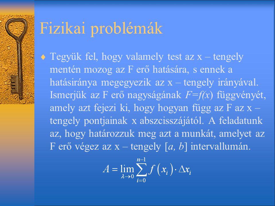 Fizikai problémák  Tegyük fel, hogy valamely test az x – tengely mentén mozog az F erő hatására, s ennek a hatásiránya megegyezik az x – tengely irán