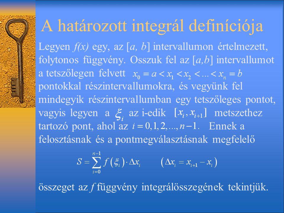 A határozott integrál definíciója Legyen f(x) egy, az [a, b] intervallumon értelmezett, folytonos függvény. Osszuk fel az [a,b] intervallumot a tetsző