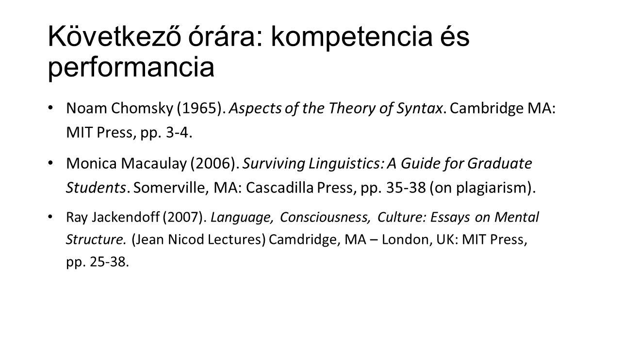 Következő órára: kompetencia és performancia Noam Chomsky (1965).