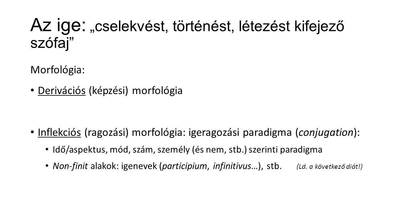 """Az ige: """"cselekvést, történést, létezést kifejező szófaj Morfológia: Derivációs (képzési) morfológia Inflekciós (ragozási) morfológia: igeragozási paradigma (conjugation): Idő/aspektus, mód, szám, személy (és nem, stb.) szerinti paradigma Non-finit alakok: igenevek (participium, infinitivus…), stb."""