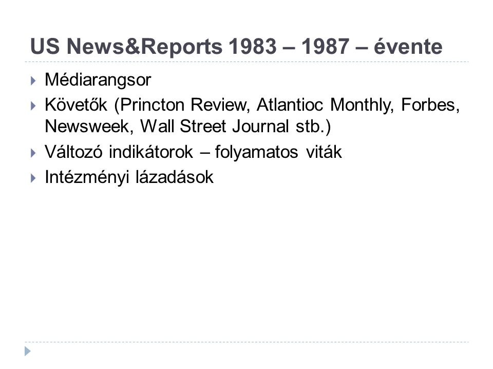 US News&Reports 1983 – 1987 – évente  Médiarangsor  Követők (Princton Review, Atlantioc Monthly, Forbes, Newsweek, Wall Street Journal stb.)  Változó indikátorok – folyamatos viták  Intézményi lázadások