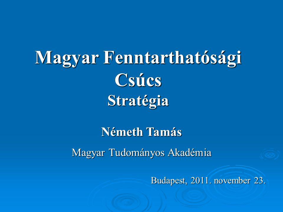 Magyar Fenntarthatósági Csúcs Stratégia Németh Tamás Magyar Tudományos Akadémia Budapest, 2011. november 23.