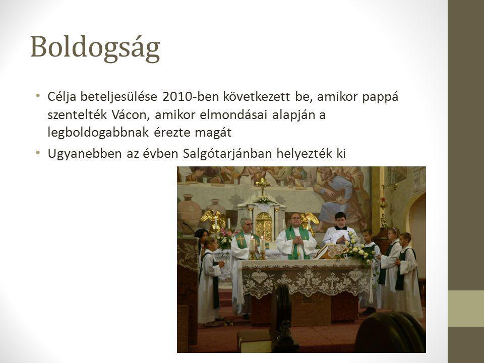 Boldogság Célja beteljesülése 2010-ben következett be, amikor pappá szentelték Vácon, amikor elmondásai alapján a legboldogabbnak érezte magát Ugyanebben az évben Salgótarjánban helyezték ki