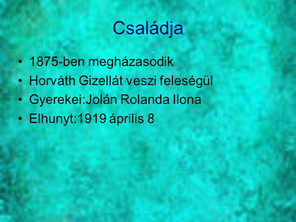 Családja 1875-ben megházasodik Horváth Gizellát veszi feleségül Gyerekei:Jolán Rolanda Ilona Elhunyt:1919 április 8