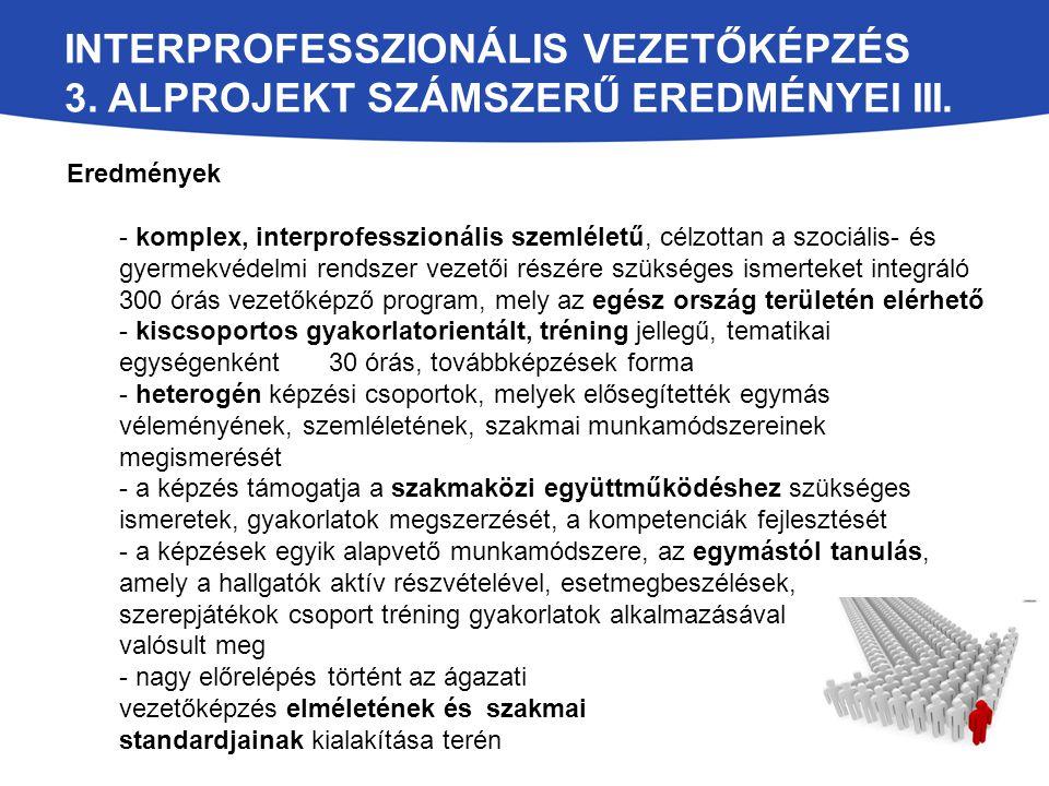 INTERPROFESSZIONÁLIS VEZETŐKÉPZÉS 3. ALPROJEKT SZÁMSZERŰ EREDMÉNYEI III. Eredmények - komplex, interprofesszionális szemléletű, célzottan a szociális-