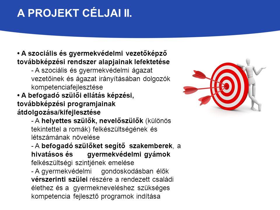 A PROJEKT CÉLJAI II. A szociális és gyermekvédelmi vezetőképző továbbképzési rendszer alapjainak lefektetése - A szociális és gyermekvédelmi ágazat ve