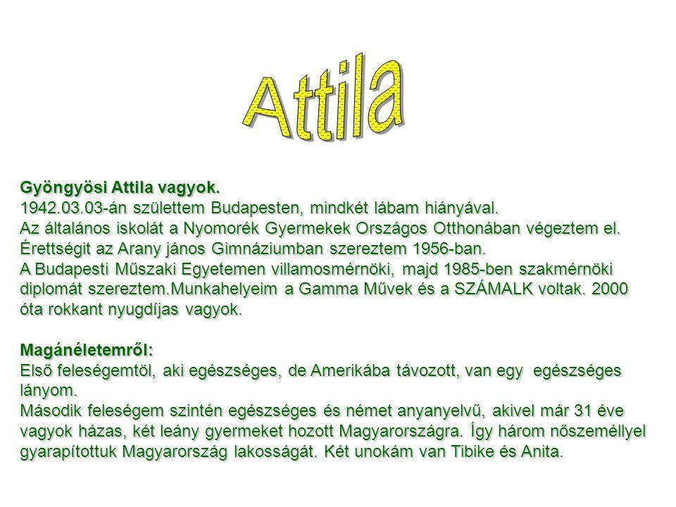 Gyöngyösi Attila vagyok. 1942.03.03-án születtem Budapesten, mindkét lábam hiányával. Az általános iskolát a Nyomorék Gyermekek Országos Otthonában vé