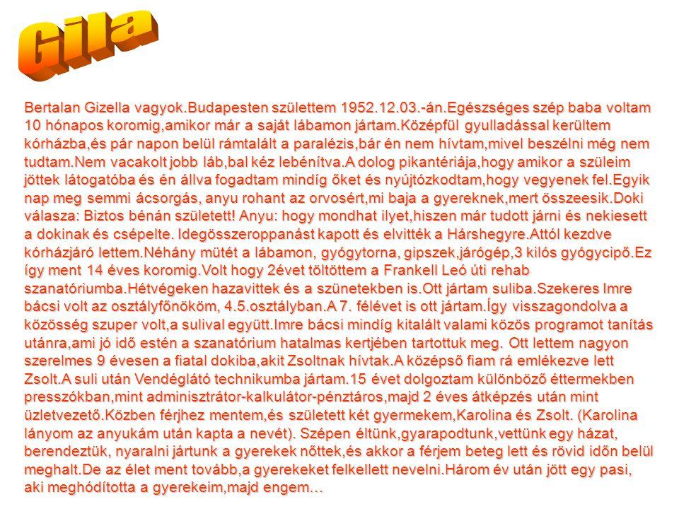 Bertalan Gizella vagyok.Budapesten születtem 1952.12.03.-án.Egészséges szép baba voltam 10 hónapos koromig,amikor már a saját lábamon jártam.Középfül