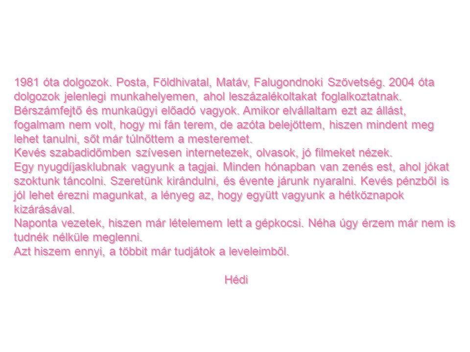 1981 óta dolgozok.Posta, Földhivatal, Matáv, Falugondnoki Szövetség.