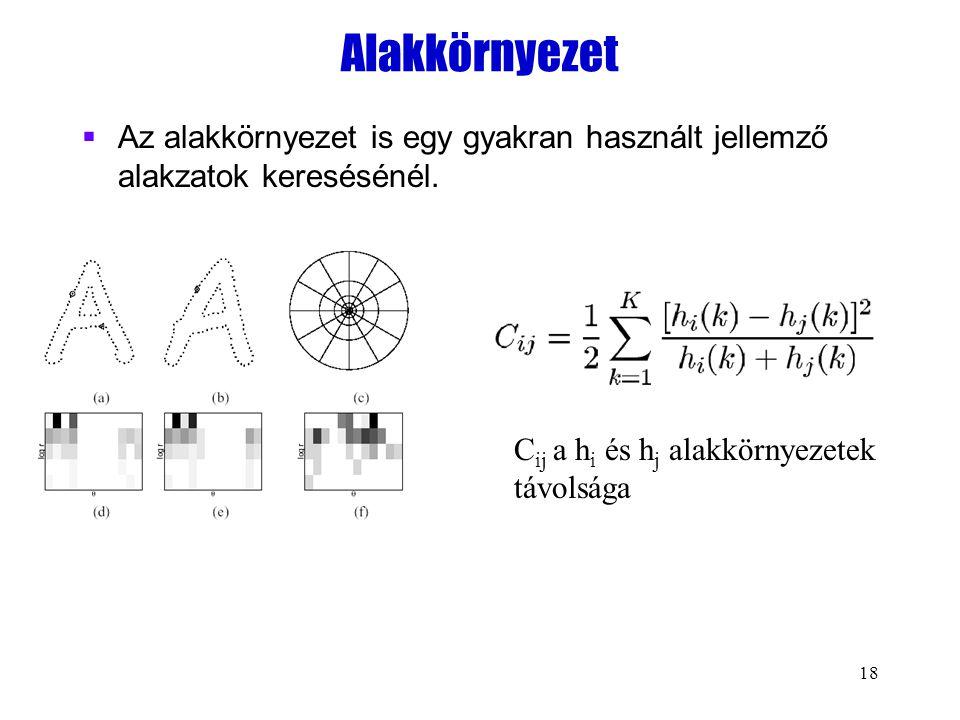 18 Alakkörnyezet  Az alakkörnyezet is egy gyakran használt jellemző alakzatok keresésénél. C ij a h i és h j alakkörnyezetek távolsága