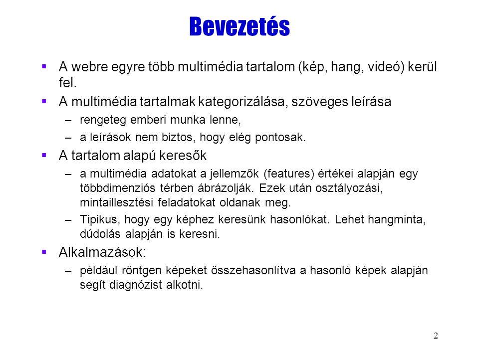 2 Bevezetés  A webre egyre több multimédia tartalom (kép, hang, videó) kerül fel.  A multimédia tartalmak kategorizálása, szöveges leírása –rengeteg