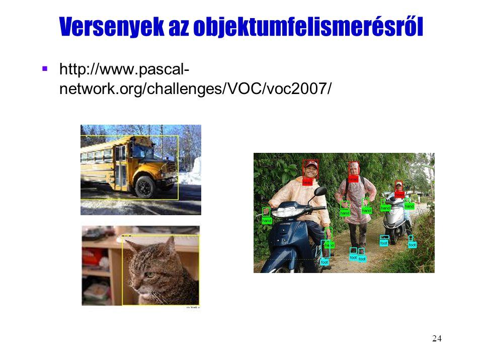 24 Versenyek az objektumfelismerésről  http://www.pascal- network.org/challenges/VOC/voc2007/