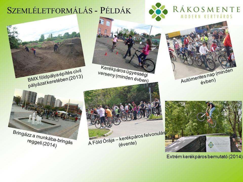S ZEMLÉLETFORMÁLÁS - P ÉLDÁK BMX földpálya építés civil pályázat keretében (2013) Kerékpáros ügyességi verseny (minden évben) Autómentes nap (minden évben) Bringázz a munkába-bringás reggeli (2014) A Föld Órája – kerékpáros felvonulás (évente) Extrém kerékpáros bemutató (2014)