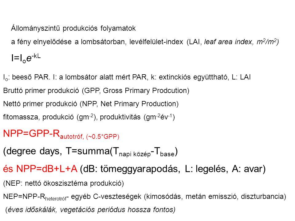 Land sink… Nettó Primer Produkció: NPP=GPP- R autotróf (R: légzés) Nettó Ökoszisztéma Produkció: NEP=NPP-R heterotróf Nettó Biom Produkció (NBP, ~ az ökoszisztémában maradó szén) NBP=NEP-D D:zavarás (disturbance), → tüzek(↑), betakarítás(↑), trágyázás(↓) Net Ecosystem Exchange ( nettó ökoszizstéma gázcsere) : NEE=-NEP Gross Primary Production ( bruttó primer produkció) : GPP=-NEE+R ecosystem Az NEE mérhető közvetlenül