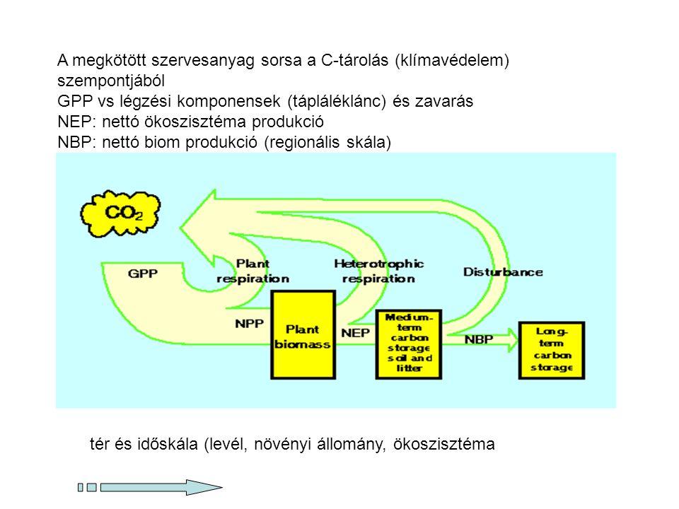 Ökoszisztémák élőlények (biotikus) környezetük (abiotikus, levegő, víz, talaj, sugárzó energia) NPP, GPP, Ra, Rh biomassza, élő és holt fitomassza NPP=GPP-Ra,NEP=NPP-Rh NBP=NEP-F zavarás GPP Autotróf légzés NPP herbivorok szaprofiták légzése 100 J1-10 J NEP NBP, nettó biom produkció NEP, nettó ökoszisztéma produkció F zavarás →zavarásból eredő (C-)veszteségek NBP