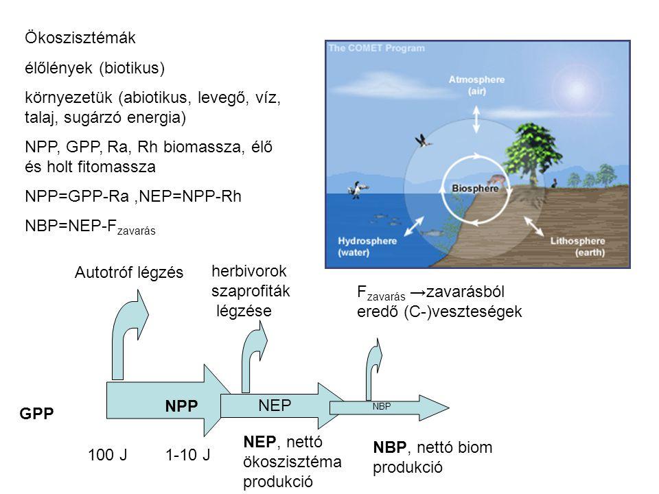 Ökoszisztémák élőlények (biotikus) környezetük (abiotikus, levegő, víz, talaj, sugárzó energia) NPP, GPP, Ra, Rh biomassza, élő és holt fitomassza NPP