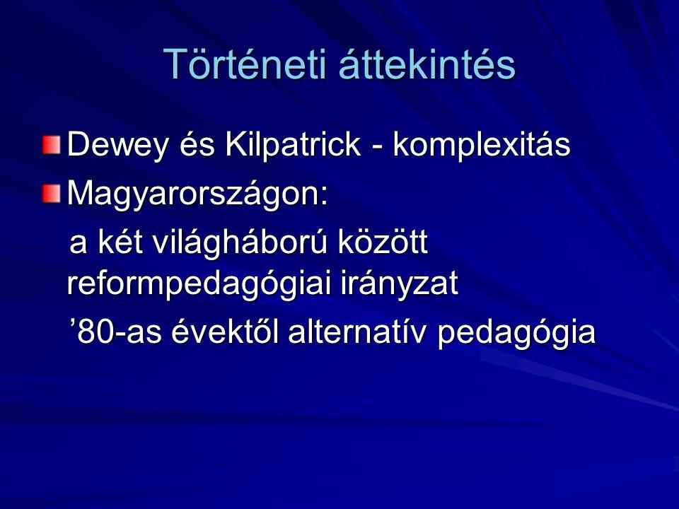 Történeti áttekintés Dewey és Kilpatrick - komplexitás Magyarországon: a két világháború között reformpedagógiai irányzat a két világháború között ref