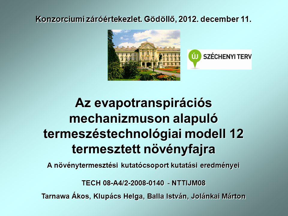 Az evapotranspirációs mechanizmuson alapuló termeszéstechnológiai modell 12 termesztett növényfajra A növénytermesztési kutatócsoport kutatási eredményei Konzorciumi záróértekezlet.