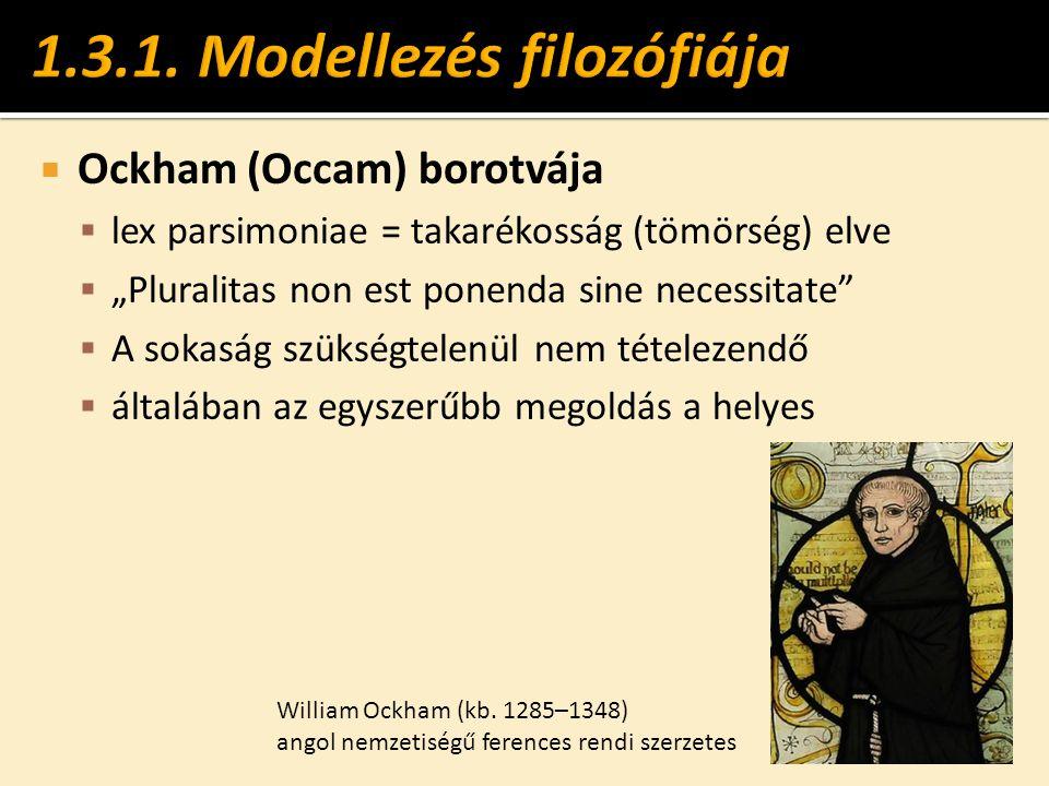 """ Ockham (Occam) borotvája  lex parsimoniae = takarékosság (tömörség) elve  """"Pluralitas non est ponenda sine necessitate""""  A sokaság szükségtelenül"""