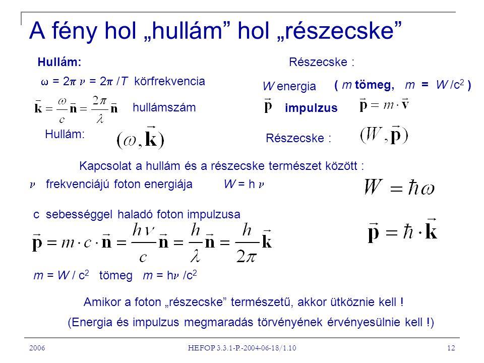 """2006 HEFOP 3.3.1-P.-2004-06-18/1.10 12 A fény hol """"hullám"""" hol """"részecske"""" Hullám:  = 2  = 2  /T körfrekvencia hullámszám Hullám: Részecske : W ene"""