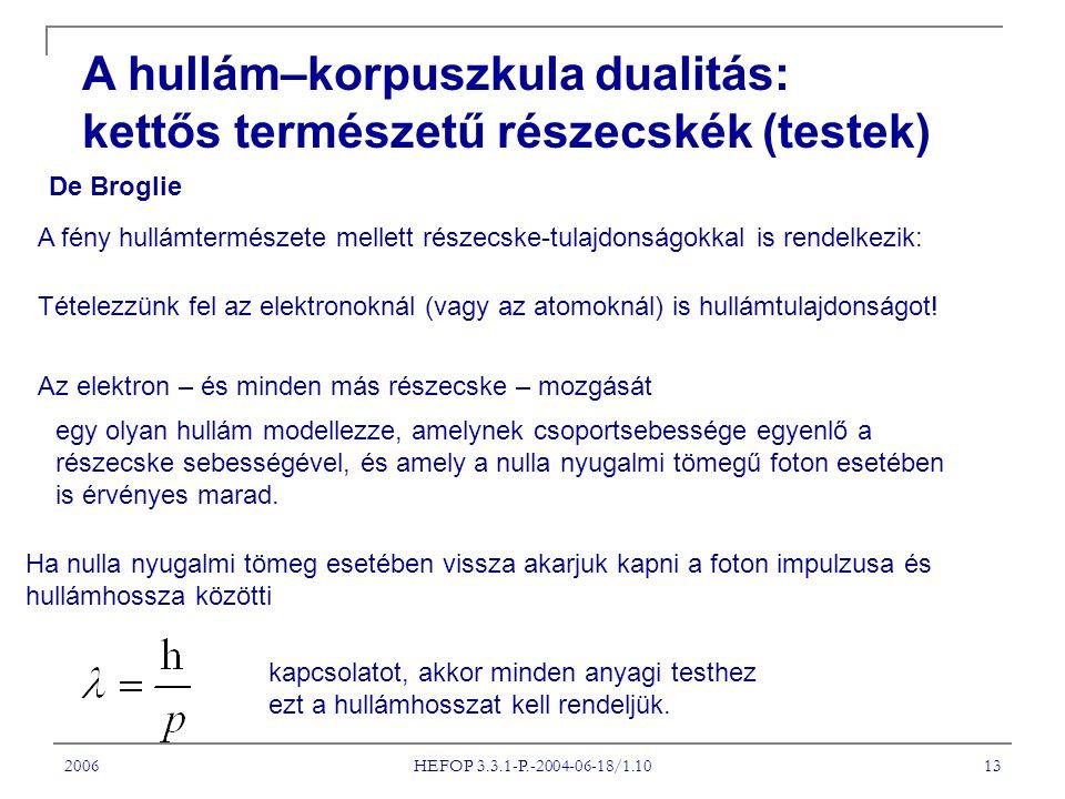 2006 HEFOP 3.3.1-P.-2004-06-18/1.10 13 A hullám–korpuszkula dualitás: kettős természetű részecskék (testek) De Broglie A fény hullámtermészete mellett