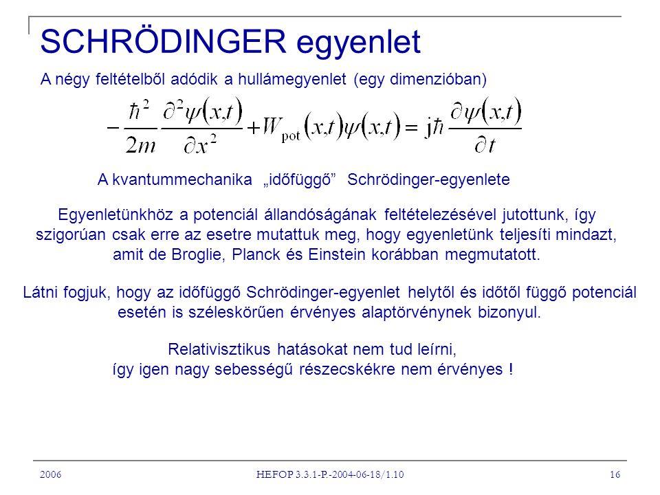 """2006 HEFOP 3.3.1-P.-2004-06-18/1.10 16 SCHRÖDINGER egyenlet A négy feltételből adódik a hullámegyenlet (egy dimenzióban) A kvantummechanika """"időfüggő"""""""
