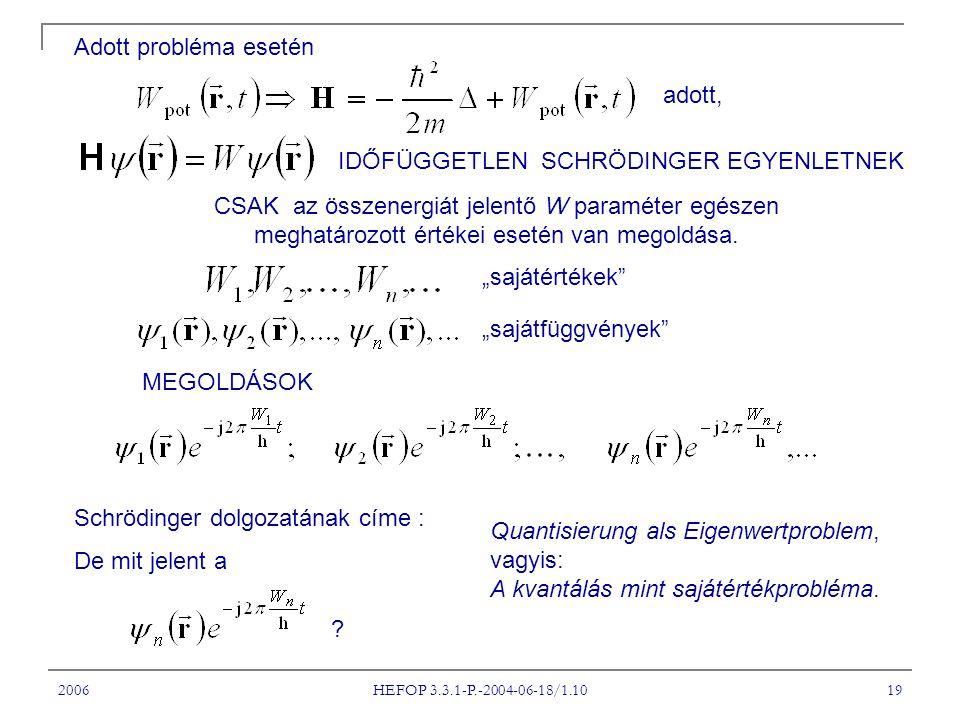 2006 HEFOP 3.3.1-P.-2004-06-18/1.10 19 Adott probléma esetén CSAK az összenergiát jelentő W paraméter egészen meghatározott értékei esetén van megoldá