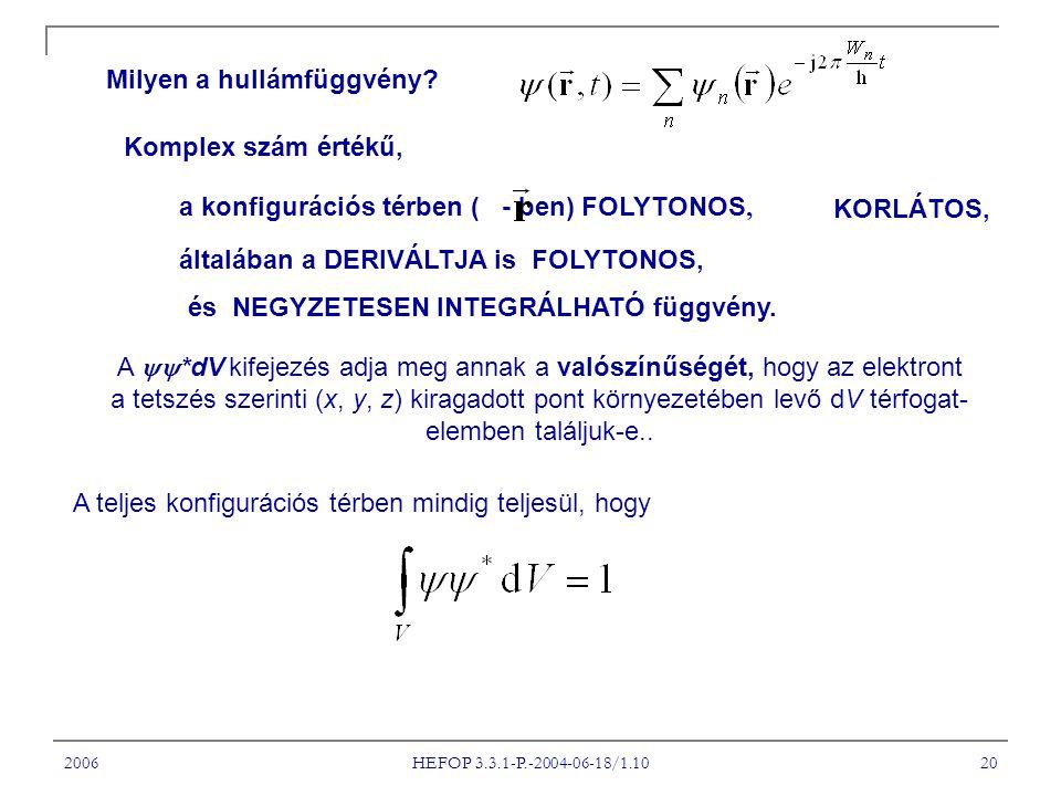 2006 HEFOP 3.3.1-P.-2004-06-18/1.10 20 Milyen a hullámfüggvény? a konfigurációs térben ( - ben) FOLYTONOS, általában a DERIVÁLTJA is FOLYTONOS, KORLÁT
