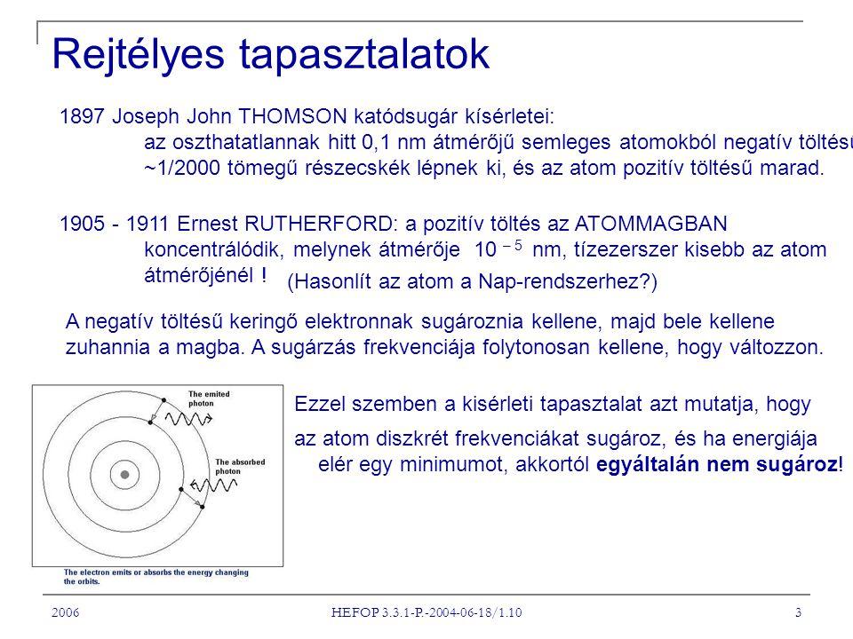 2006 HEFOP 3.3.1-P.-2004-06-18/1.10 3 Rejtélyes tapasztalatok 1897 Joseph John THOMSON katódsugár kísérletei: az oszthatatlannak hitt 0,1 nm átmérőjű