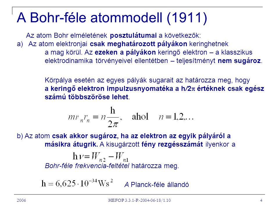 2006 HEFOP 3.3.1-P.-2004-06-18/1.10 4 A Bohr-féle atommodell (1911) Az atom Bohr elméletének posztulátumai a következők: a) Az atom elektronjai csak m