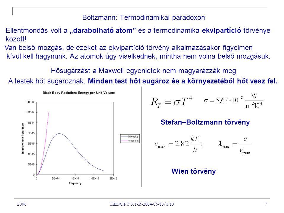 """2006 HEFOP 3.3.1-P.-2004-06-18/1.10 7 Boltzmann: Termodinamikai paradoxon Ellentmondás volt a """"darabolható atom"""" és a termodinamika ekvipartíció törvé"""