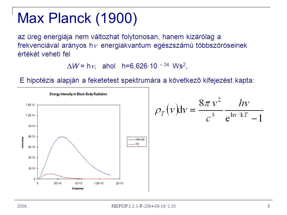 2006 HEFOP 3.3.1-P.-2004-06-18/1.10 8 Max Planck (1900) az üreg energiája nem változhat folytonosan, hanem kizárólag a frekvenciával arányos h energia