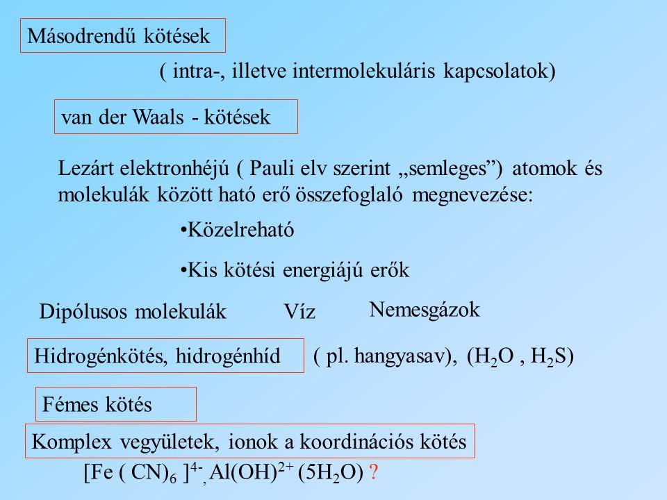 """van der Waals - kötések Lezárt elektronhéjú ( Pauli elv szerint """"semleges"""") atomok és molekulák között ható erő összefoglaló megnevezése: Közelreható"""