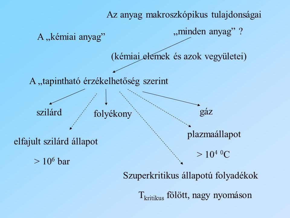 """A """"kémiai anyag"""" (kémiai elemek és azok vegyületei) A """"tapintható érzékelhetőség szerint szilárd folyékony gáz plazmaállapot > 10 4 0 C elfajult szilá"""