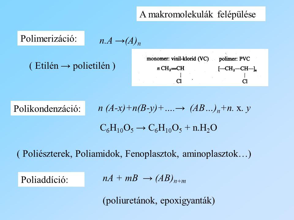 n.A →(A) n n (A-x)+n(B-y)+….→ (AB…) n +n. x. y nA + mB → (AB) n+m Polimerizáció: Polikondenzáció: Poliaddíció: A makromolekulák felépülése ( Etilén →