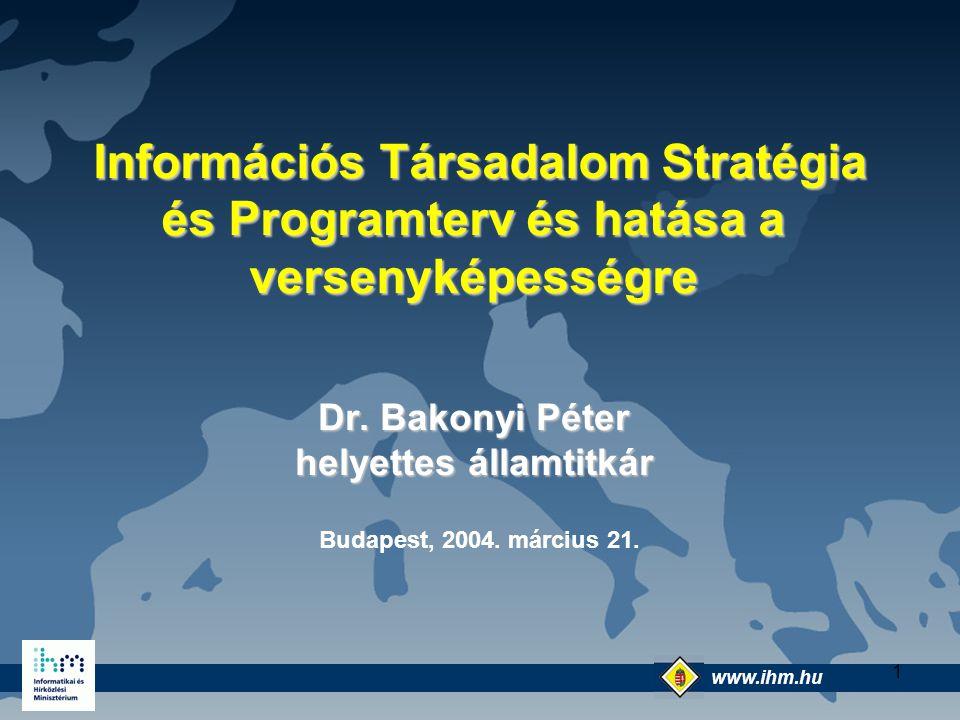 www.ihm.hu @ 12 A válasz: e-Magyarország A gazdaság és társadalom korszerűsítésének két alapvető pillére: A folyamatok korszerűsítése az IKT segítségével back-office ( integrált szolgáltatáshoz ) A szolgáltatások modernizálása-elektronikus szolgáltatások alkalmazásával - front office E két pillére épül az e-Magyarország: e- szolgáltatások tömeges elérhetővé tétele és a sokszínű információs kultúra kialakítása
