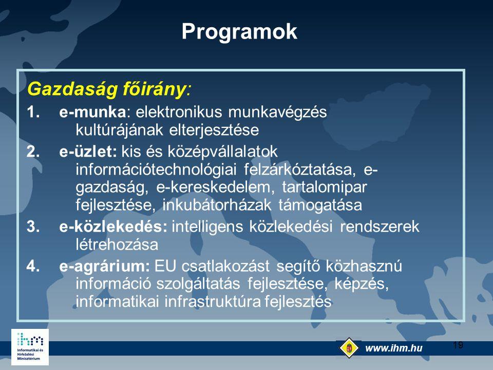 www.ihm.hu @ 19 Gazdaság főirány: 1.e-munka: elektronikus munkavégzés kultúrájának elterjesztése 2.e-üzlet: kis és középvállalatok információtechnológ