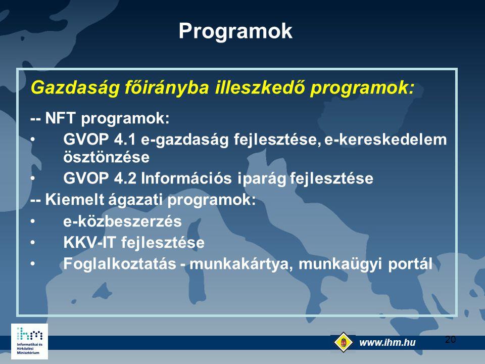 www.ihm.hu @ 20 Gazdaság főirányba illeszkedő programok: -- NFT programok: GVOP 4.1 e-gazdaság fejlesztése, e-kereskedelem ösztönzése GVOP 4.2 Informá
