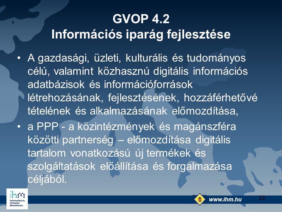 www.ihm.hu @ 22 GVOP 4.2 Információs iparág fejlesztése A gazdasági, üzleti, kulturális és tudományos célú, valamint közhasznú digitális információs a