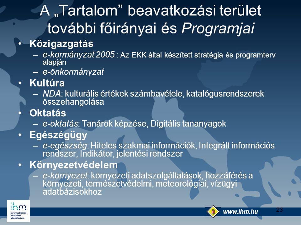 """www.ihm.hu @ 23 A """"Tartalom"""" beavatkozási terület további főirányai és Programjai Közigazgatás –e-kormányzat 2005 : Az EKK által készített stratégia é"""
