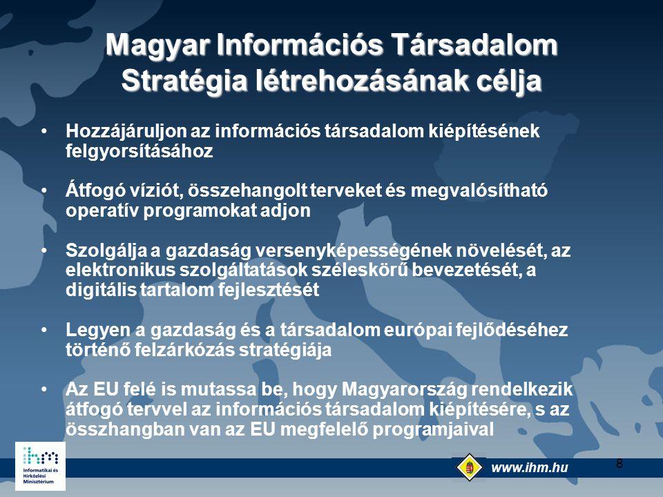 www.ihm.hu @ 8 Magyar Információs Társadalom Stratégia létrehozásának célja Hozzájáruljon az információs társadalom kiépítésének felgyorsításához Átfo