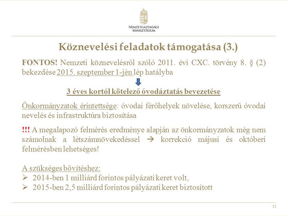 13 Köznevelési feladatok támogatása (3.) FONTOS! Nemzeti köznevelésről szóló 2011. évi CXC. törvény 8. § (2) bekezdése 2015. szeptember 1-jén lép hatá