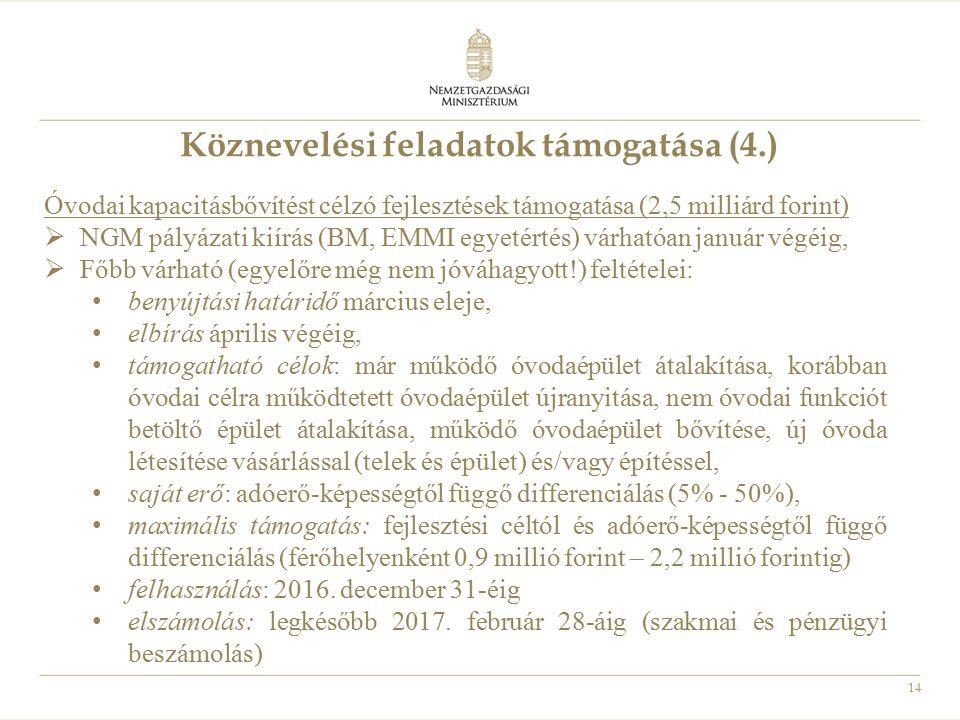 14 Köznevelési feladatok támogatása (4.) Óvodai kapacitásbővítést célzó fejlesztések támogatása (2,5 milliárd forint)  NGM pályázati kiírás (BM, EMMI