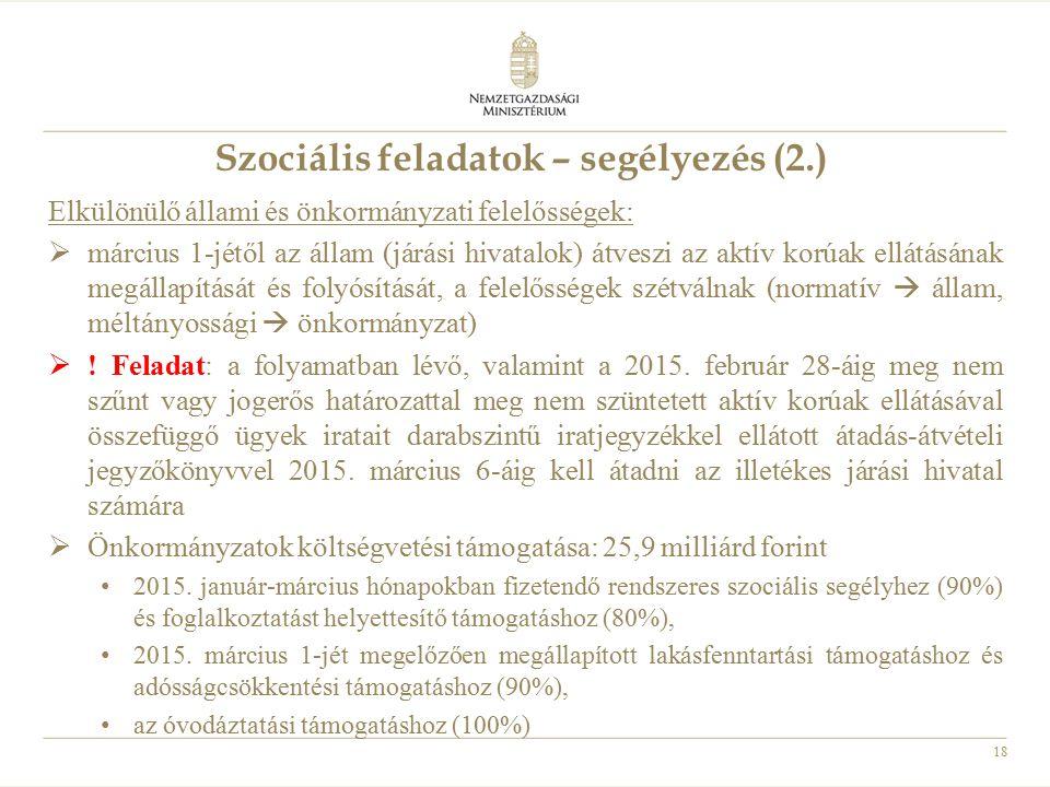 18 Szociális feladatok – segélyezés (2.) Elkülönülő állami és önkormányzati felelősségek:  március 1-jétől az állam (járási hivatalok) átveszi az akt