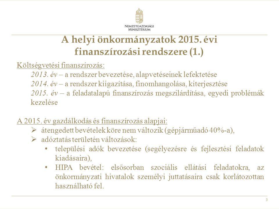 3 A helyi önkormányzatok 2015. évi finanszírozási rendszere (1.) Költségvetési finanszírozás: 2013. év – a rendszer bevezetése, alapvetéseinek lefekte