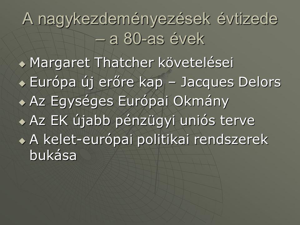 A nagykezdeményezések évtizede – a 80-as évek  Margaret Thatcher követelései  Európa új erőre kap – Jacques Delors  Az Egységes Európai Okmány  Az EK újabb pénzügyi uniós terve  A kelet-európai politikai rendszerek bukása